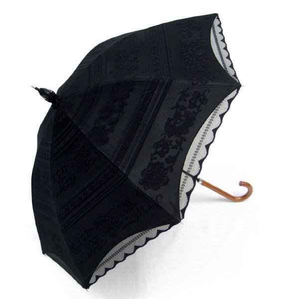 完全遮光 日傘 遮光率100% UV遮蔽率99.99% 傘本体 遮光率99.99% レディース 1級遮光 紫外線カット パゴダ サラサボーダー柄 レース二重張 50cm 手開 送料無料|okamoto-kasa|15