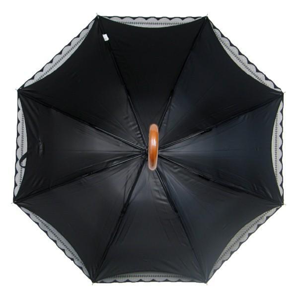 完全遮光 日傘 遮光率100% UV遮蔽率99.99% 傘本体 遮光率99.99% レディース 1級遮光 紫外線カット パゴダ サラサボーダー柄 レース二重張 50cm 手開 送料無料|okamoto-kasa|12