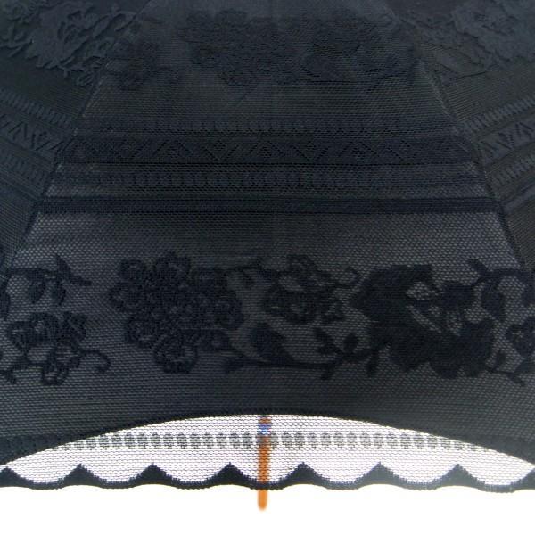 完全遮光 日傘 遮光率100% UV遮蔽率99.99% 傘本体 遮光率99.99% レディース 1級遮光 紫外線カット パゴダ サラサボーダー柄 レース二重張 50cm 手開 送料無料|okamoto-kasa|03