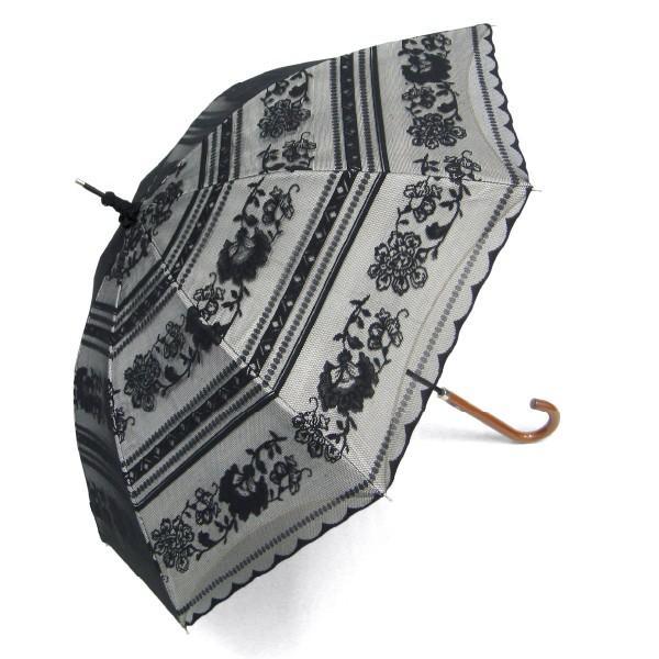 完全遮光 日傘 遮光率100% UV遮蔽率99.99% 傘本体 遮光率99.99% レディース 1級遮光 紫外線カット パゴダ サラサボーダー柄 レース二重張 50cm 手開 送料無料|okamoto-kasa|16