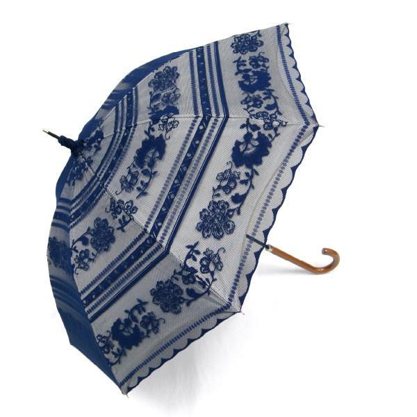 完全遮光 日傘 遮光率100% UV遮蔽率99.99% 傘本体 遮光率99.99% レディース 1級遮光 紫外線カット パゴダ サラサボーダー柄 レース二重張 50cm 手開 送料無料|okamoto-kasa|19