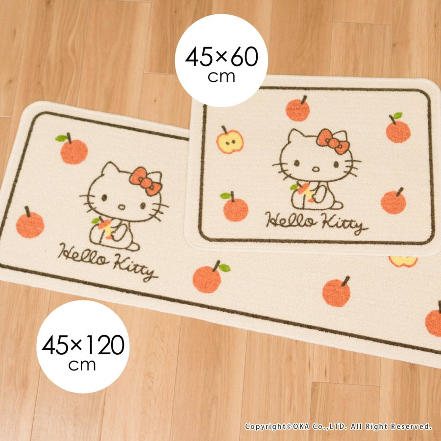洗えるマット ハローキティ ころころりんご 約45cm×60cm  (サンリオ キティちゃん キティ かわいい フリーマット 日本製)  オカ|okapro|06