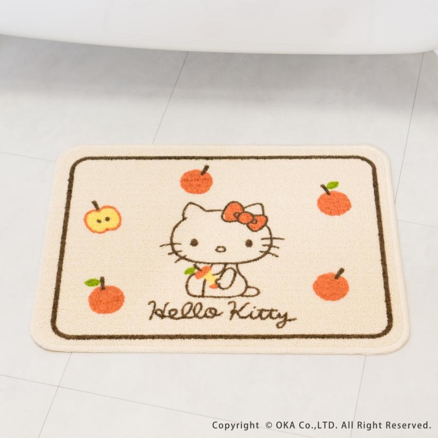 洗えるマット ハローキティ ころころりんご 約45cm×60cm  (サンリオ キティちゃん キティ かわいい フリーマット 日本製)  オカ|okapro|07