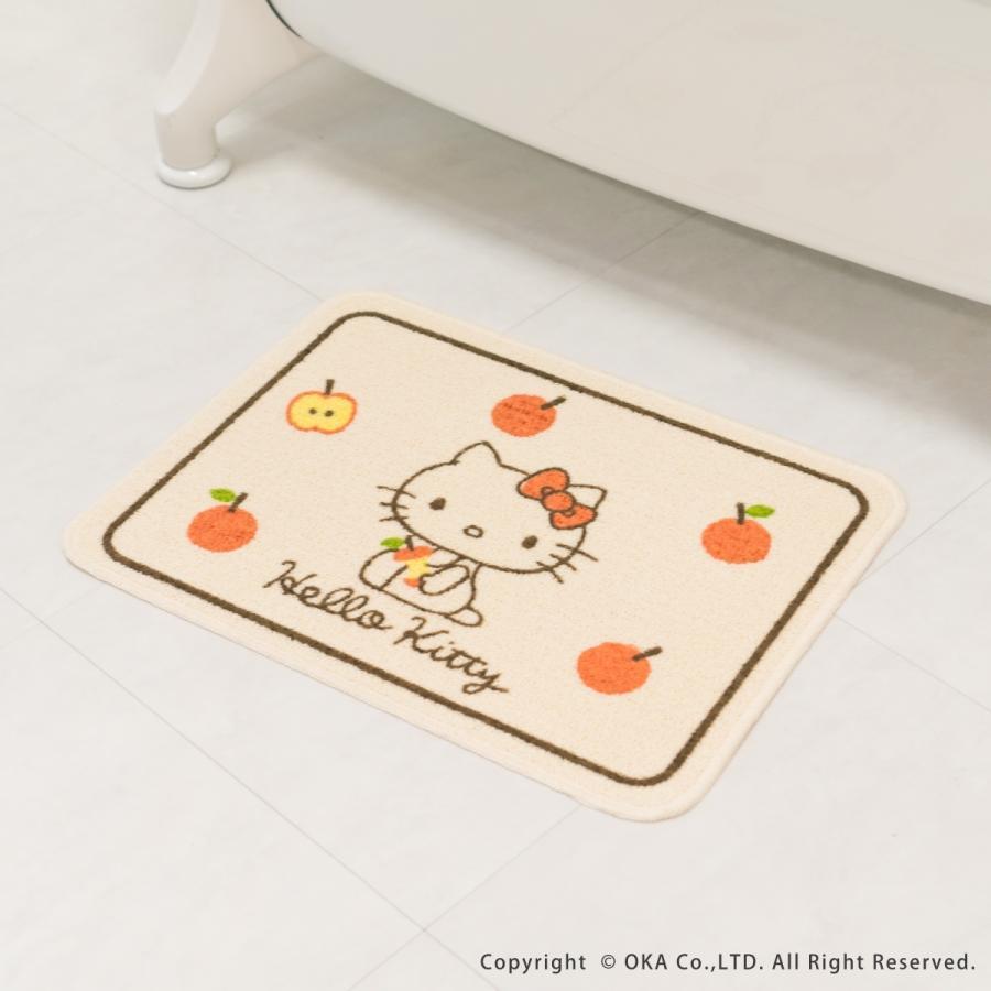 洗えるマット ハローキティ ころころりんご 約45cm×60cm  (サンリオ キティちゃん キティ かわいい フリーマット 日本製)  オカ|okapro|09