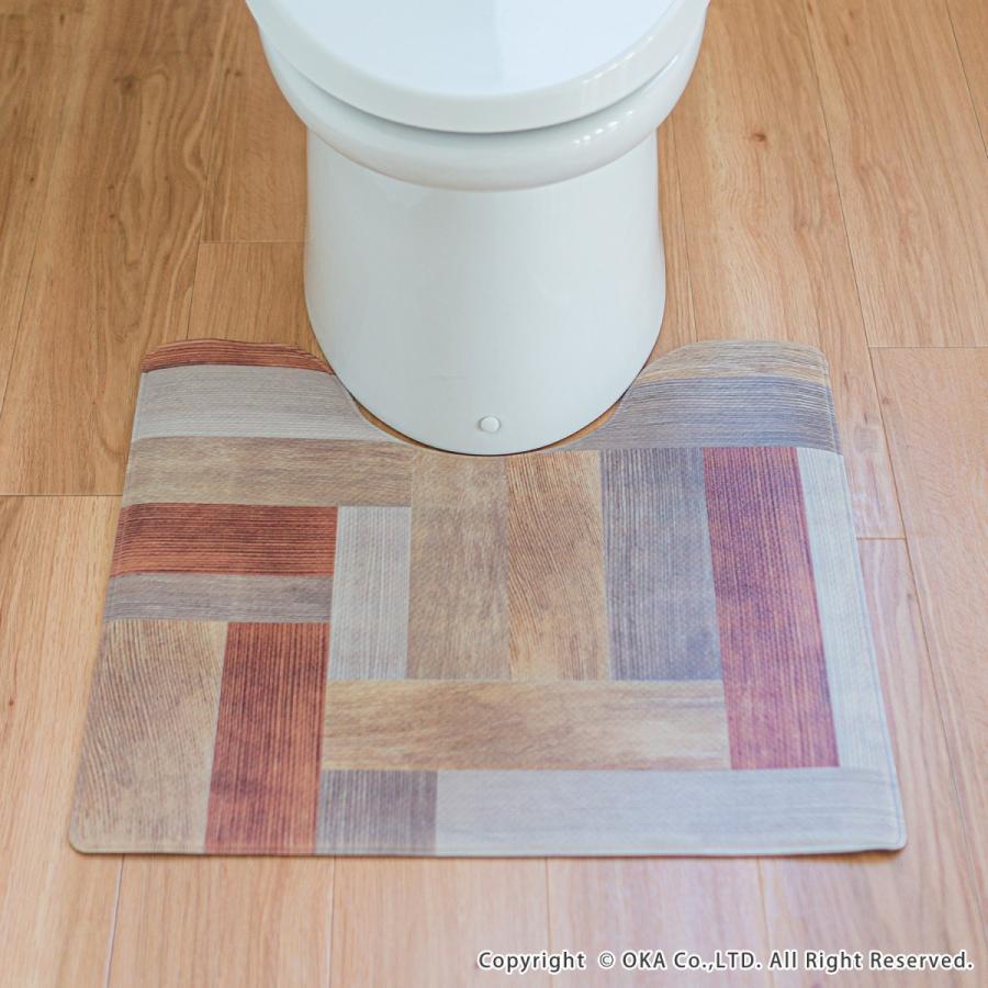 拭いて お手入れする トイレマット 55×60cm (トイレ マット 拭ける 北欧 ふける かわいい おしゃれ モダン)オカ|okapro|14