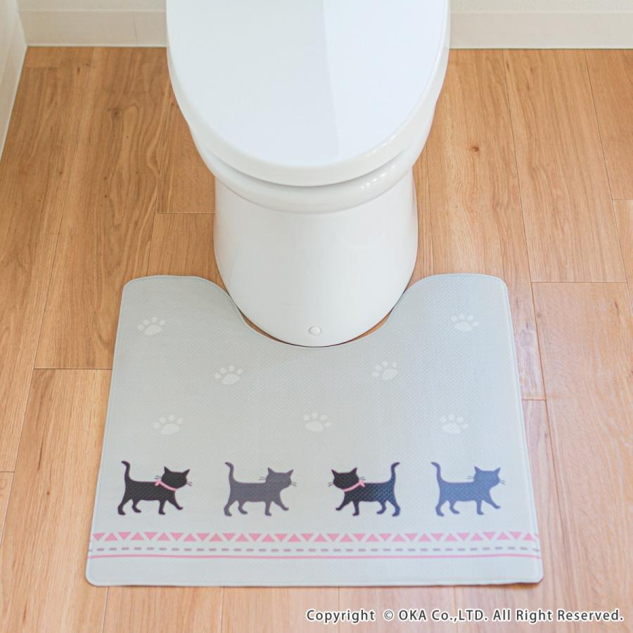 拭いて お手入れする トイレマット 55×60cm (トイレ マット 拭ける 北欧 ふける かわいい おしゃれ モダン)オカ|okapro|16