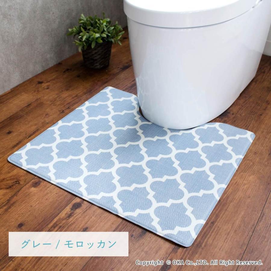 拭いて お手入れする トイレマット 55×60cm (トイレ マット 拭ける 北欧 ふける かわいい おしゃれ モダン)オカ|okapro|19