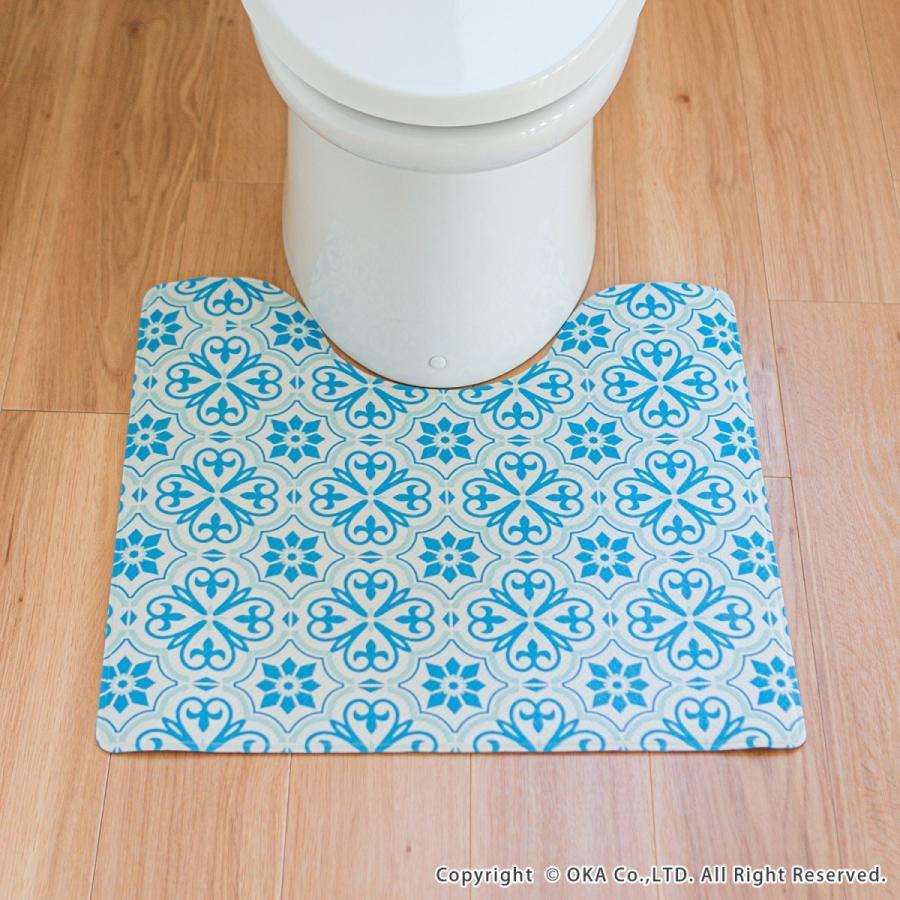 拭いて お手入れする トイレマット 55×60cm (トイレ マット 拭ける 北欧 ふける かわいい おしゃれ モダン)オカ|okapro|10