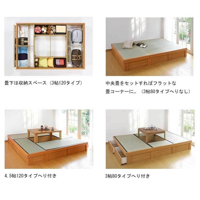 畳 収納 ユニット  小上がり 高床式ユニット畳 へりなし 3畳80タイプ  天然い草 掘りごたつユニット団欒 だんらん okitatami 04