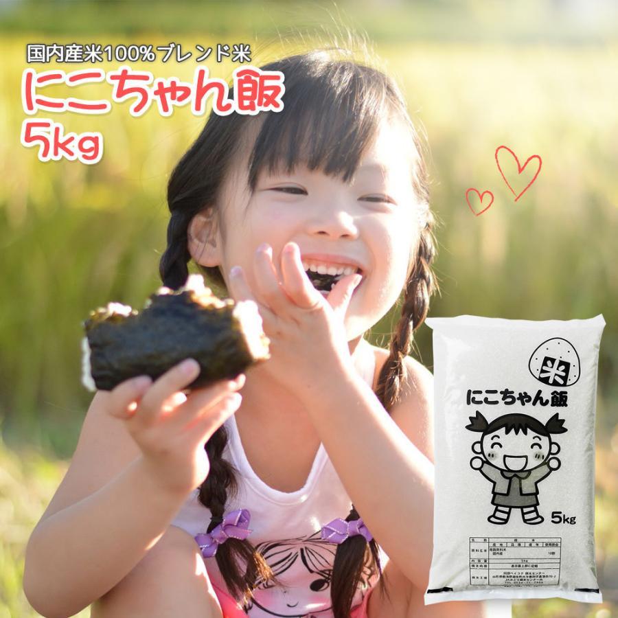 米 5kg 送料無 安い にこちゃん飯 5kg×1袋 送料無料 (一部地域を除く) 国内産 ブレンド米 お米 白米 精米 okomeabe