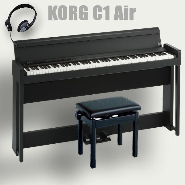 KORG 電子ピアノ 88鍵盤 C1 Air BK コルグ 高低椅子(純正) ヘッドホン付