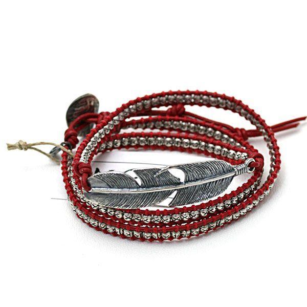 贈り物 M.Cohen/エムコーエン シルバーフェザー 3連ラップブレス/レッド B515-red, オンライン WASSY'S fa135672