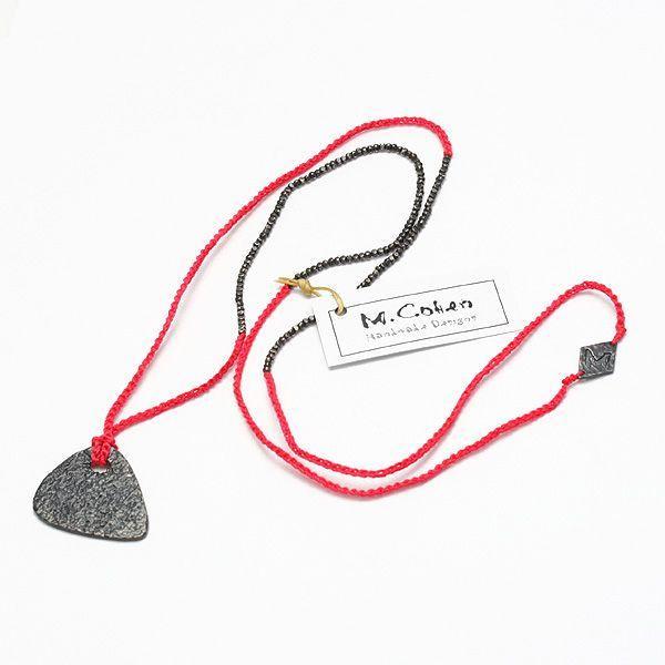 最高級 M.Cohen/エムコーエン シルバーギターピック カラーコードネックレス/ブライトレッド N-101083-SLV-BRD, プチギフトmomo-fuku 5e6e612e