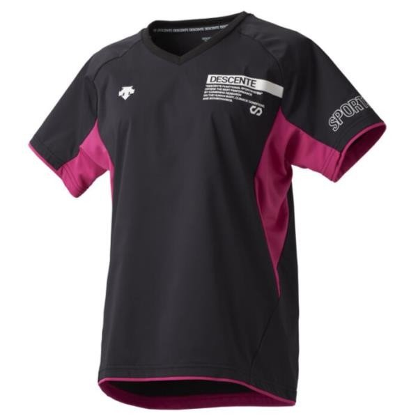 デサント DESCENTE 半袖ネオピステ(レディース) NEW バレーボールシャツ DVWOJK30-BK(ブラック×マゼンタ)