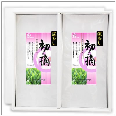 【緑茶ギフトセット】深むし初摘100g 茶袋2本セット 箱入り 2,812円 omuraen