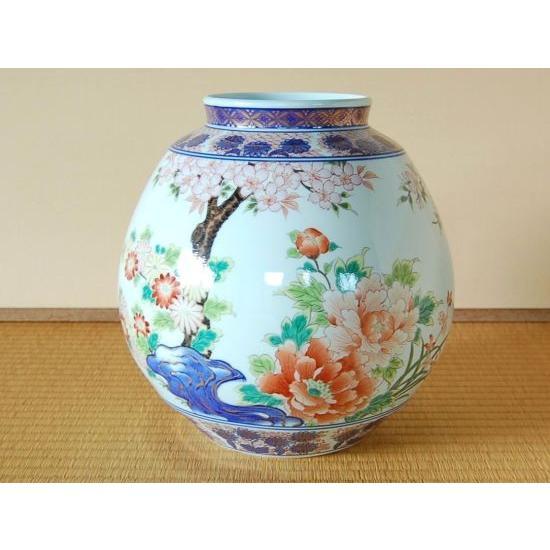 花瓶 有田焼 桜牡丹 袱紗型