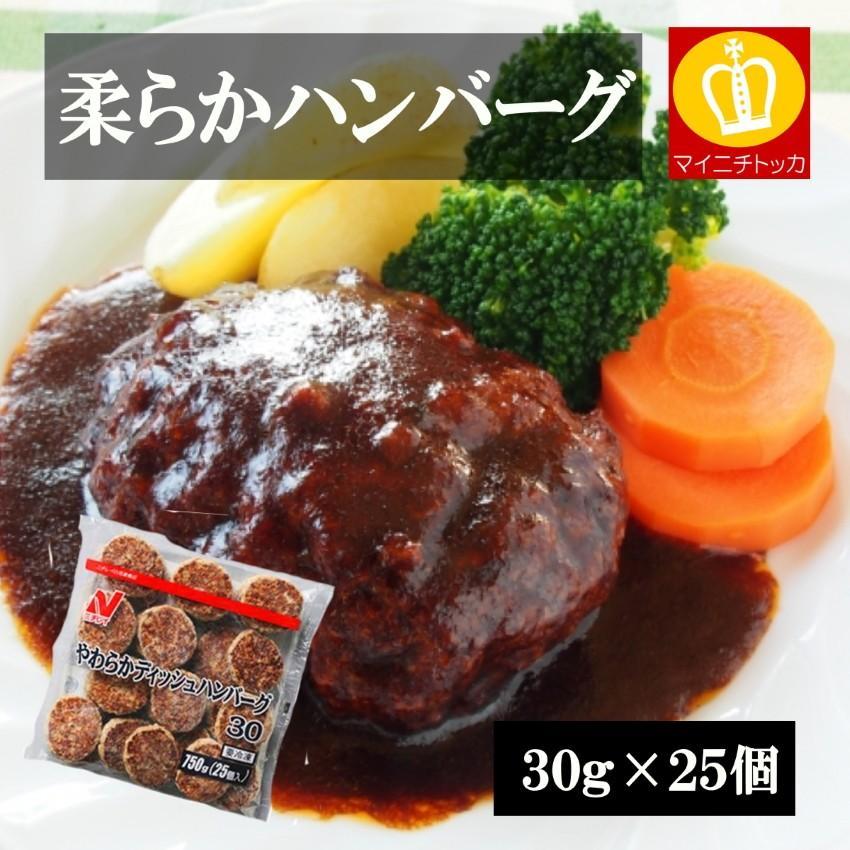 毎日がバーゲンセール ニチレイ やわらかディッシュハンバーグ 豪華な 30g×25個 冷凍食品 業務用 惣菜