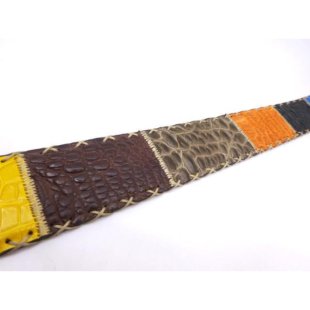 SILVANO BIAGINI イタリア クロコダイル ワニベルト(40mm幅) カラフル パッチワーク メンズ 本革 エキゾチックレザー  爬虫類 牛革 送料無料|oneandhalf|07