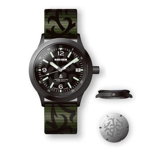 黒 LAGOON オリジナルデザイン機械式腕時計 レヴィバージョン