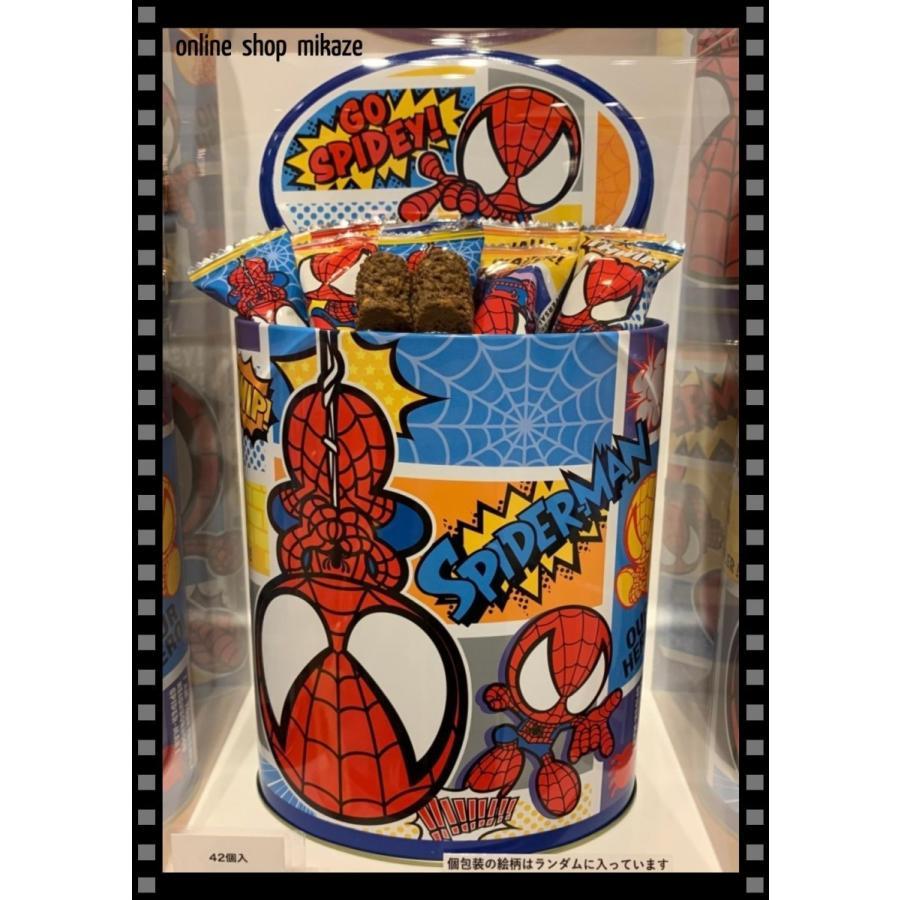 高品質 USJ スパイダーマン チョコレートクランチ 缶入り 42個入り グッズ お土産 数量限定 公式 ユニバ