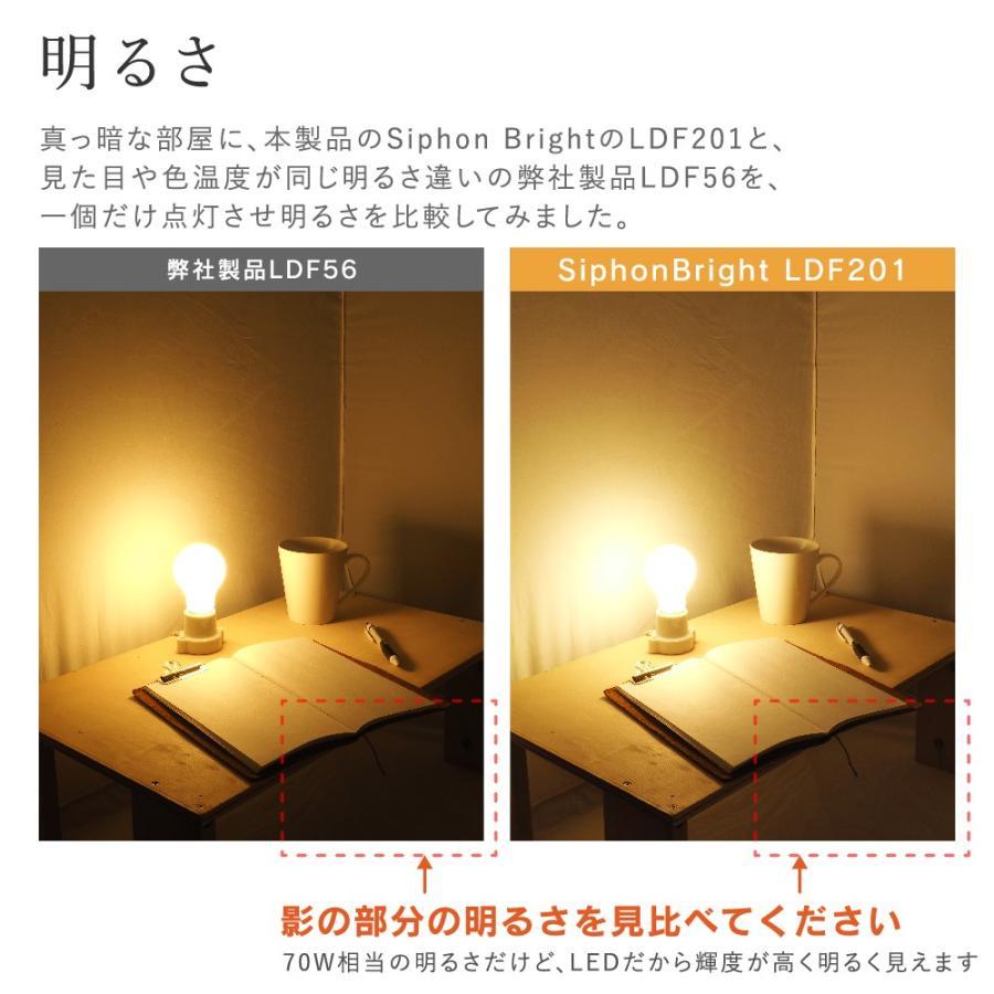 【フィラメントLED電球「Siphon Bright」A60 (一般電球型) LDF201】 E26 70W相当 フロスト レトロ アンティーク インダストリアル ブルックリン ランプ|only1-led|07