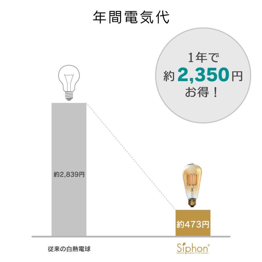 【フィラメントLED電球「Siphon Bright」A60 (一般電球型) LDF201】 E26 70W相当 フロスト レトロ アンティーク インダストリアル ブルックリン ランプ|only1-led|08