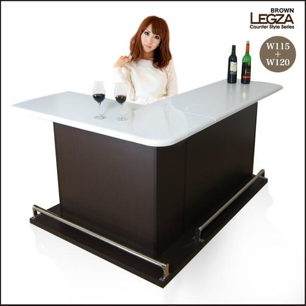 バーカウンターテーブル カウンターテーブル 収納 幅115cm幅120cmセット エナメル塗装 日本製 ブラウン