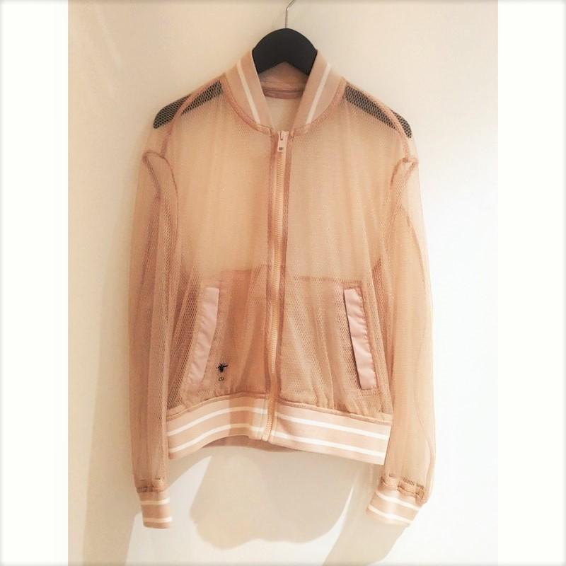 クリスチャン·ディオール Christian Dior 20AW フィッシュネットボンバージャケット 027C16B8649 サイズ34 ピンク ブルゾン レディース