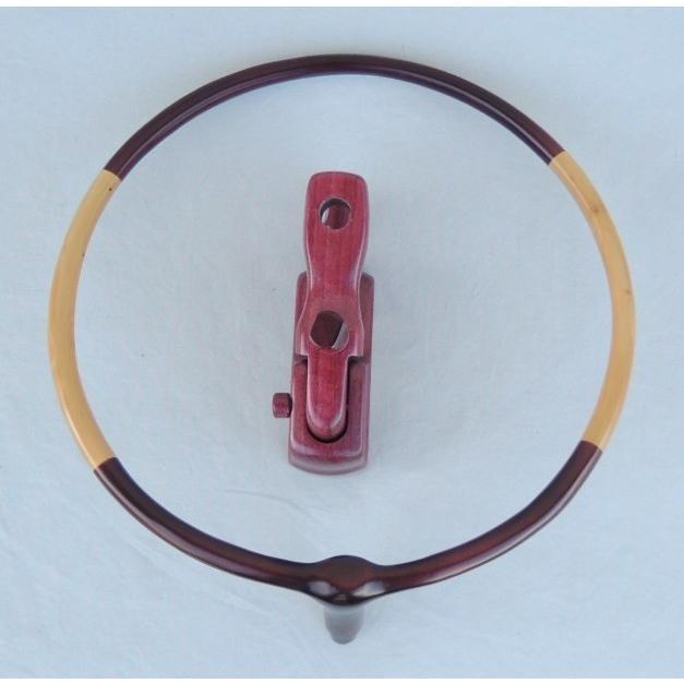 925-1岐山 天然木枠玉置 パープルハート大砲万力付き 日本製釣具