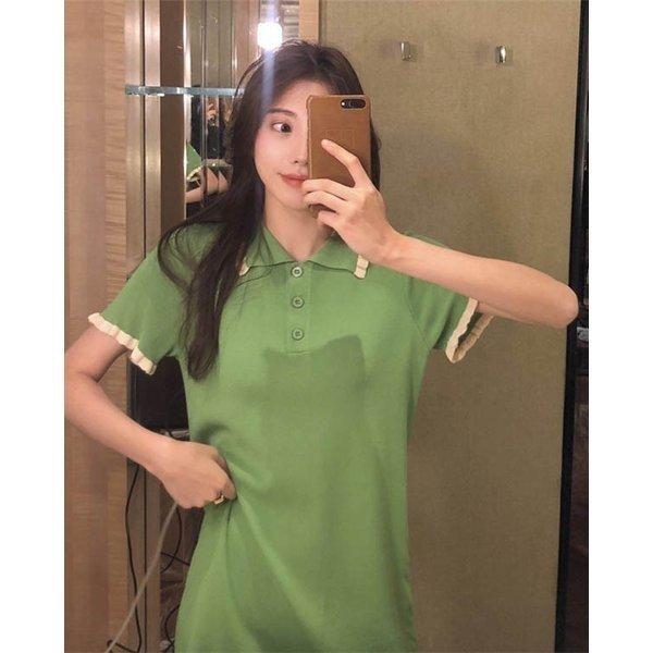 TシャツロングTシャツミニワンピミニ丈ワンピースTシャツワンピースアボカドグリーンフロントボタン|open-clothes|11