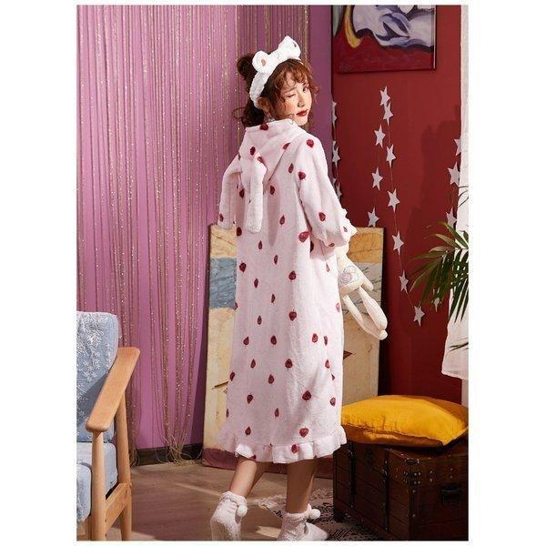 パジャマレディース着る毛布冬部屋着ルームウェアモコモコパジャマ毛布もこもこ寝巻きワンピース無地豹柄イチゴウサギあったか防寒 open-clothes 13