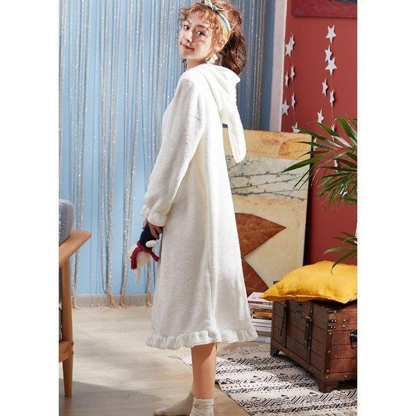 パジャマレディース着る毛布冬部屋着ルームウェアモコモコパジャマ毛布もこもこ寝巻きワンピース無地豹柄イチゴウサギあったか防寒 open-clothes 05