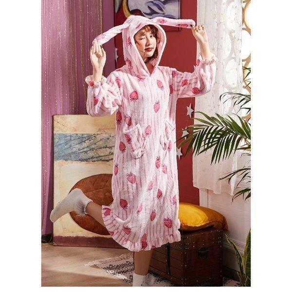 パジャマレディース着る毛布冬部屋着ルームウェアモコモコパジャマ毛布もこもこ寝巻きワンピース無地豹柄イチゴウサギあったか防寒 open-clothes 10