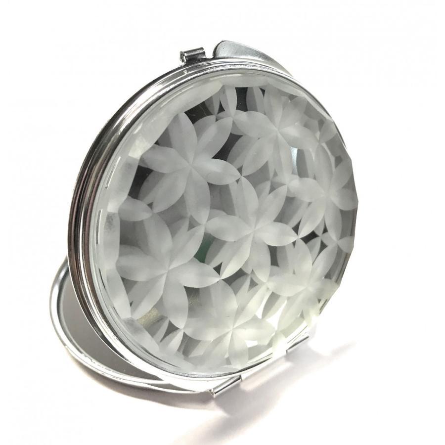 東京切子(花切子)コンパクトミラー 六花  Futuristic 銀  Futuristic 銀