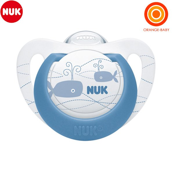 NUK ヌーク おしゃぶりジーニアス 今だけ限定15%OFFクーポン発行中 卸直営 クジラ 消毒ケース付 6-18カ月