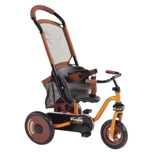 【ママも楽々シリーズ】 ピープル コマワリ三輪車(チェーン式) オレンジ【ラッピング不可商品】