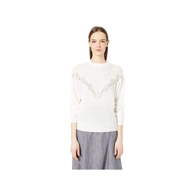 シーバイクロエ See by Chloe Floral Lace Panel Crew Neck Sweater レディース セーター Crystal 白い