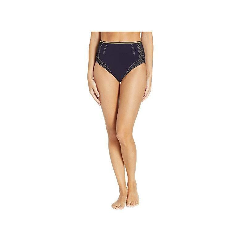 ステラ・マッカートニー Stella McCartney Contrast Stitching High-Waist Bikini Bottoms レディース 水着 Navy