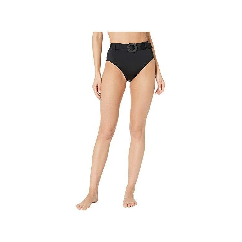 ケイトスペード Kate Spade New York Daisy Buckle High-Waist Bikini Bottoms レディース 水着 黒