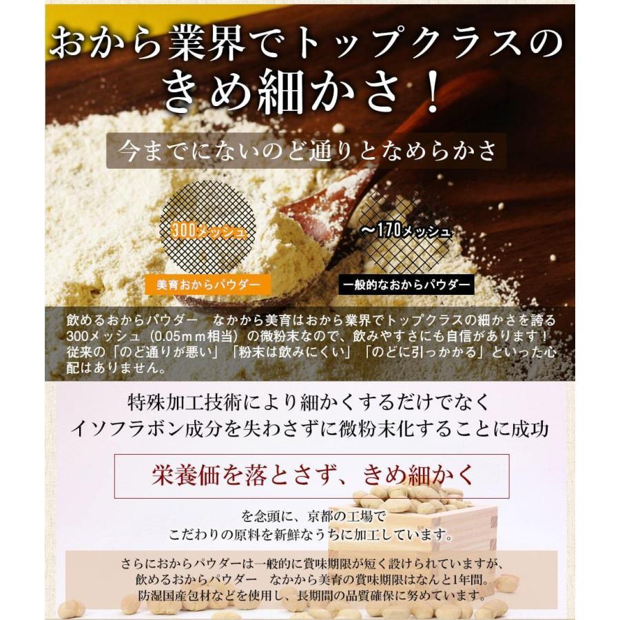 おからパウダー 飲める 超微粉 150g なかから美育 300メッシュ プロテイン ソイ 置き換え ダイエット 女性のための美容専門  送料無料|organickitchen|13