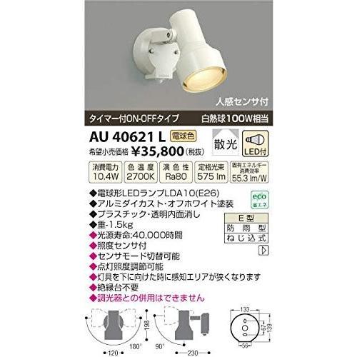 コイズミ 人感センサ付 アウトドアLEDスポットライト AU40621L