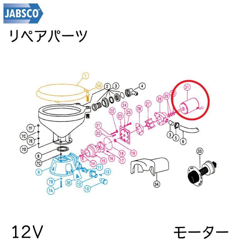 ジャブスコ マリン 電動トイレ用 モーター 12V  JABSCO 37064-0000