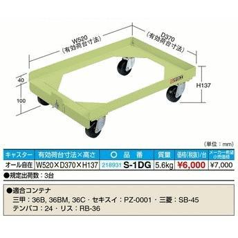 【代引不可】 サカエ  【代引不可】 サカエ  【代引不可】 サカエ  コンテナ台車 S-1DG 3台セット 79e