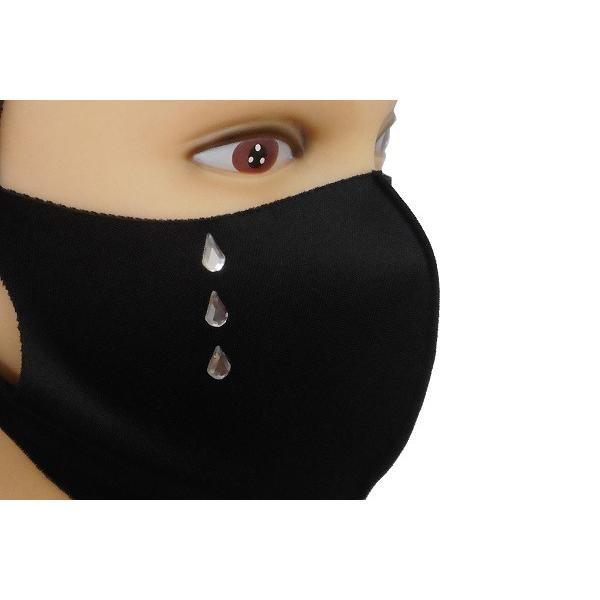 Shareki マスクアクセサリー マスクホットフィックス  キラキラ ラインストーン ホットフィックスマスク ファッションマスク 涙 ナミダ なみだ hf-namida-mask|osharekizoku|02