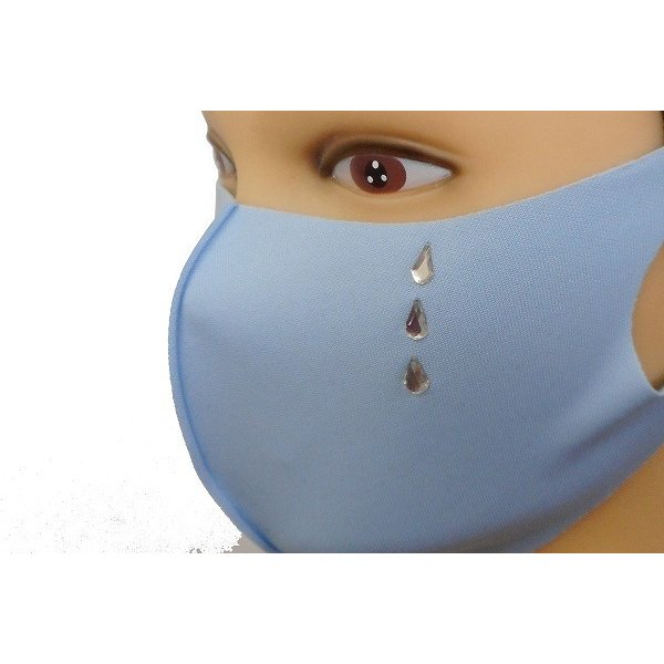 Shareki マスクアクセサリー マスクホットフィックス  キラキラ ラインストーン ホットフィックスマスク ファッションマスク 涙 ナミダ なみだ hf-namida-mask|osharekizoku|03