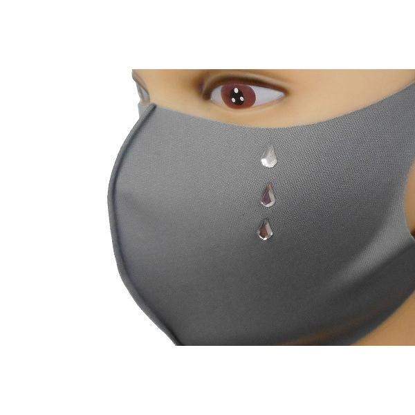 Shareki マスクアクセサリー マスクホットフィックス  キラキラ ラインストーン ホットフィックスマスク ファッションマスク 涙 ナミダ なみだ hf-namida-mask|osharekizoku|05