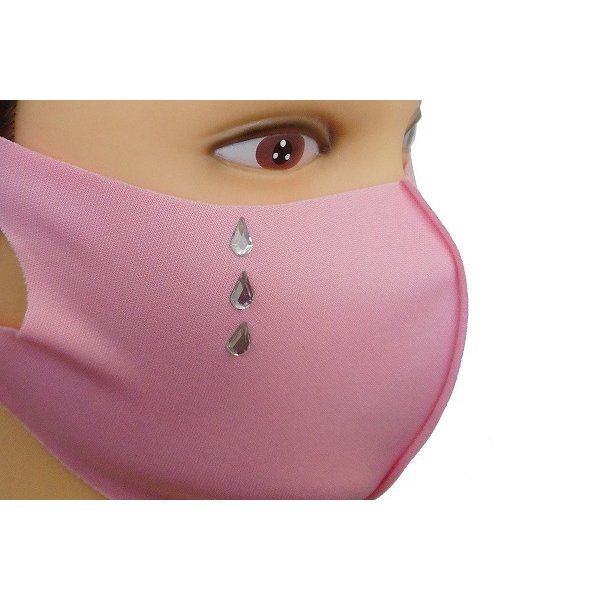 Shareki マスクアクセサリー マスクホットフィックス  キラキラ ラインストーン ホットフィックスマスク ファッションマスク 涙 ナミダ なみだ hf-namida-mask|osharekizoku|08