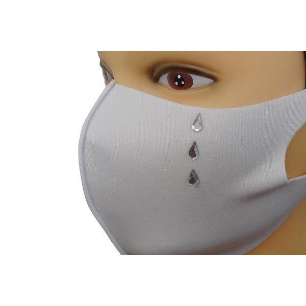 Shareki マスクアクセサリー マスクホットフィックス  キラキラ ラインストーン ホットフィックスマスク ファッションマスク 涙 ナミダ なみだ hf-namida-mask|osharekizoku|09