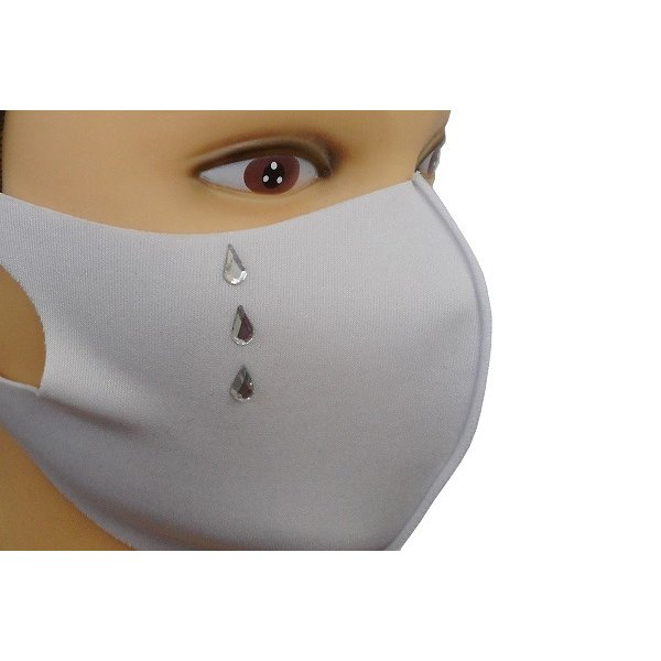 Shareki マスクアクセサリー マスクホットフィックス  キラキラ ラインストーン ホットフィックスマスク ファッションマスク 涙 ナミダ なみだ hf-namida-mask|osharekizoku|10