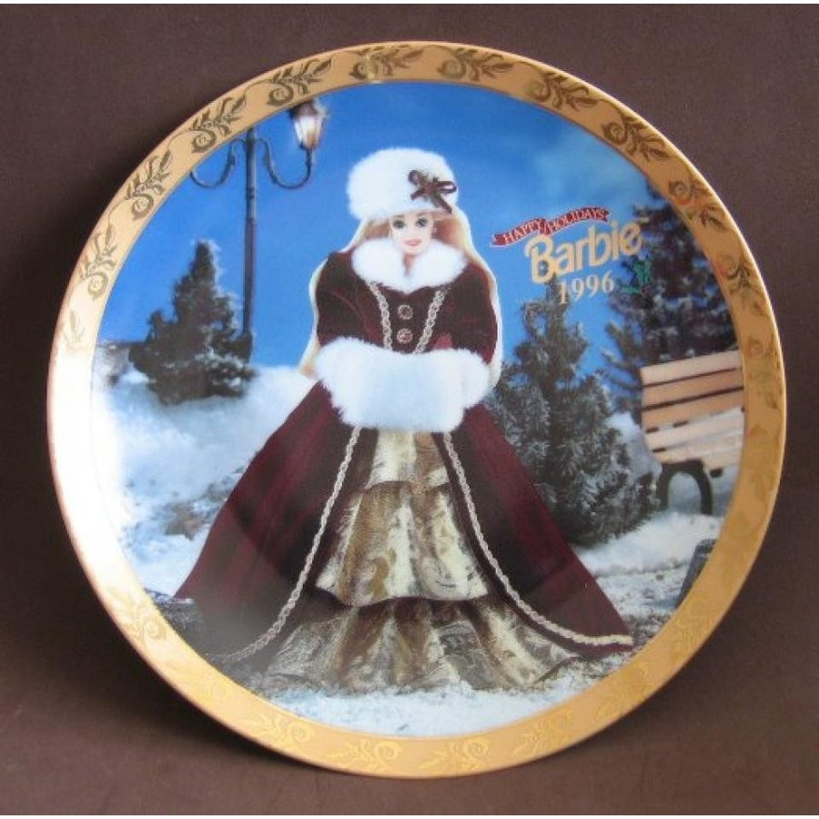 バービー人形 着せ替え おもちゃ Barbie Happy Holidays 1996 Collector Plate - Limited Edition (1996 Enesco, Mattel) 輸入品